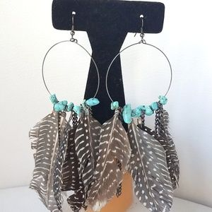 Wire Feathers And Faux Turquoise Earrings